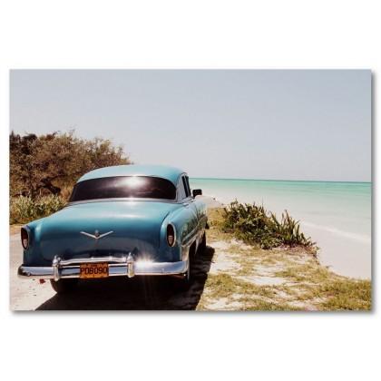 Αφίσα (Κούβα, αυτοκίνητο, θάλασσα)